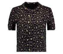Metallic leopard-print wool-blend top