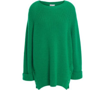 Woman Snap-detailed Ribbed Wool Sweater Green