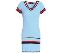 Ribbed Intarsia-knit Mini Dress Sky Blue