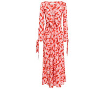 Knotted Floral-print Crepe De Chine Maxi Dress Baby Pink
