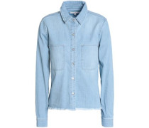 Frayed denim shirt