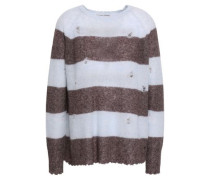 Distressed Striped Cashmere And Silk-blend Sweater Sky Blue