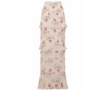 Tiered ruffled silk crepe de chine skirt