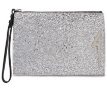 Woman G-glitter Appliquéd Glittered Leather Pouch Silver