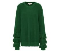 Fringe-trimmed Ribbed-knit Sweater Emerald