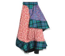 Asymmetric patchwork printed woven midi skirt