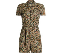 Leopard-print cotton-poplin playsuit