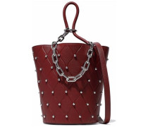 Roxy Studded Quilted Pebbled-leather Bucket Bag Burgundy Size --