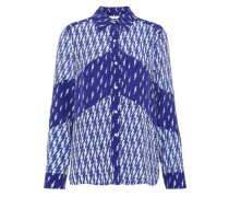 Cinie Printed Washed Silk-paneled Crepe De Chine Shirt Indigo