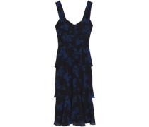 Tiered printed silk-crepe dress