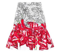Fluted Printed Stretch-cotton Mini Skirt Red