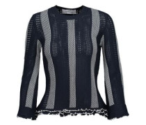 Ruffled paneled crochet and pointelle-knit sweater