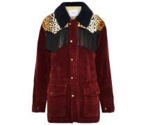 Fringed Faux Fur-paneled Corduroy Jacket Burgundy