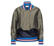 Asymmetric satin bomber jacket