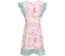 Ruffle Tulle-trimmed Floral-print Silk-crepe Mini Dress Baby Pink