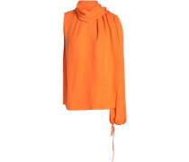 One-shoulder silk blouse