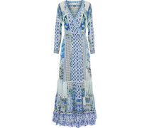 Salvador Summer broderie anglaise-trimmed embellished printed silk maxi wrap dress