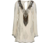Embellished Printed Silk-georgette Blouse Ivory
