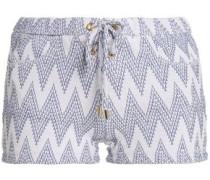 Lace-up jacquard-knit shorts