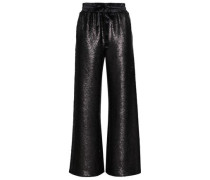 Sierra Silk Satin-trimmed Sequined Woven Wide-leg Pants Black