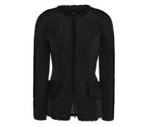 Scuba-paneled Tweed Jacket Black