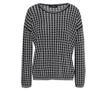 Checked Wool-blend Jacquard Sweater Black