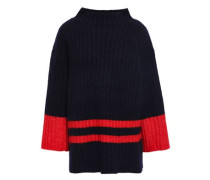 Striped Ribbed-knit Sweater Navy