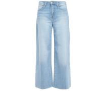 Danica Frayed High-rise Wide-leg Jeans Light Denim  4