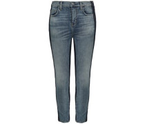 Cropped Two-tone Mid-rise Skinny Jeans Mid Denim  4