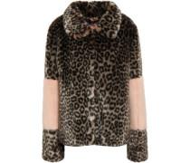 Paneled Leopard-print Faux Fur Coat Animal Print Size 14