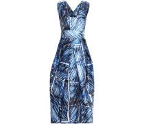 Strapless printed crepe midi dress