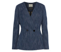 Delgada Double-breasted Cotton-blend Tweed Blazer Indigo