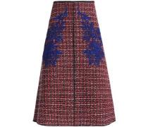 Lace-appliquéd wool-tweed skirt