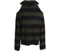Cold-shoulder distressed striped cashmere hoodie