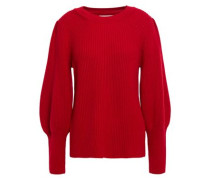 Woman Zilo Ribbed Wool-blend Sweater Claret
