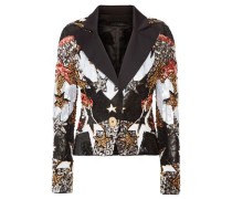 Bead and sequin-embellished satin blazer