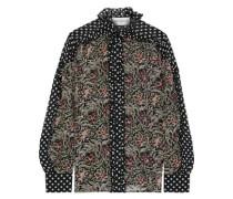 Woman Balyna Ruffle-trimmed Printed Silk-chiffon Shirt Black