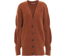 Brushed Wool-blend Cardigan Tan