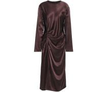 Ruched Satin Midi Dress Merlot