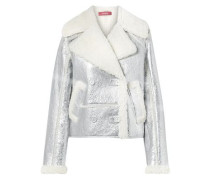 Woman Hensley Metallic Textured-leather And Shearling Jacket Silver