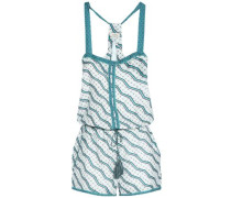 Printed Cotton And Silk-blend Playsuit Jade