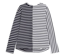 Lace-up paneled striped cotton top