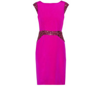 Draped crystal-embellished silk-satin dress
