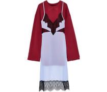 Layered Lace-paneled Chiffon And French Cotton-blend Terry Sweatshirt Claret