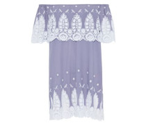 Agnes Off-the-shoulder Lace-paneled Embroidered Cotton Mini Dress Lavender