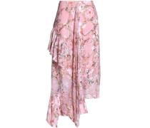 Asymmetric devoré silk-blend midi skirt