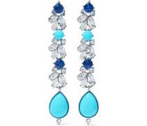 Silver-tone, Swarovski crystal and stone earrings