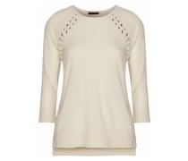 Lace-up Cashmere Wool And Silk-blend Sweater Ecru