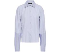 Striped Cotton-poplin Shirt Blue
