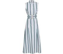 Belted Striped Cotton-poplin Midi Shirt Dress Light Gray Size 0